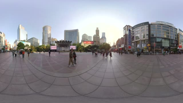 360 vr, nanjing east road shopping street - panoramic stock videos and b-roll footage