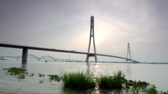 t/l ws zi nanjing third yangtze bridge / nanjing, china - nanjing stock videos & royalty-free footage