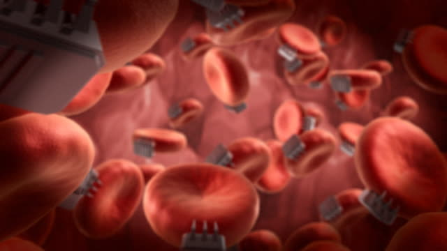 nanobots in esame microscopico delle cellule del sangue - nanotecnologia video stock e b–roll