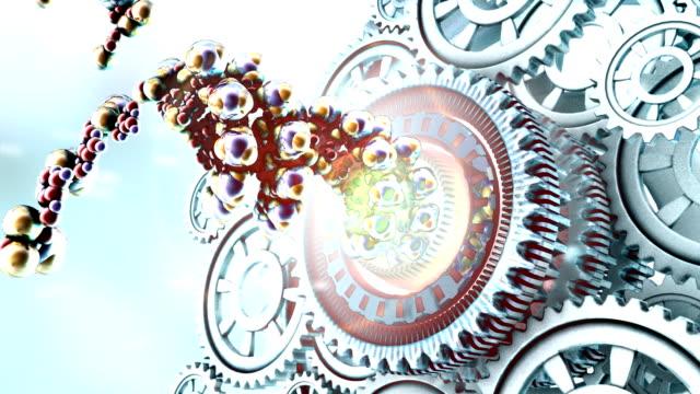 vídeos y material grabado en eventos de stock de dna nanotec gears - estructura molecular