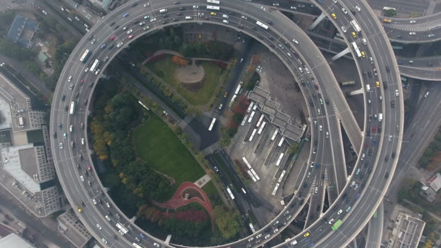 nanpu bridge aerial highway junction - roundabout stock videos and b-roll footage