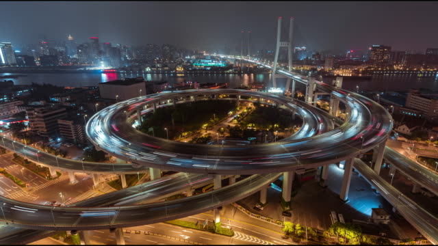 T/L HA ZO NanPu Bridge and Road Intersection at Night / Shanghai, China