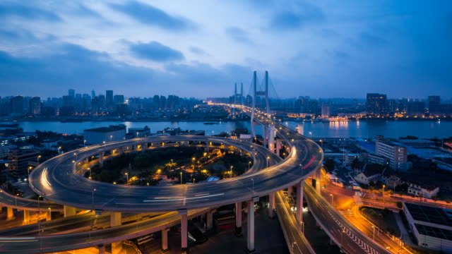 nanpu bridge at night / shanghai - light trail stock videos & royalty-free footage