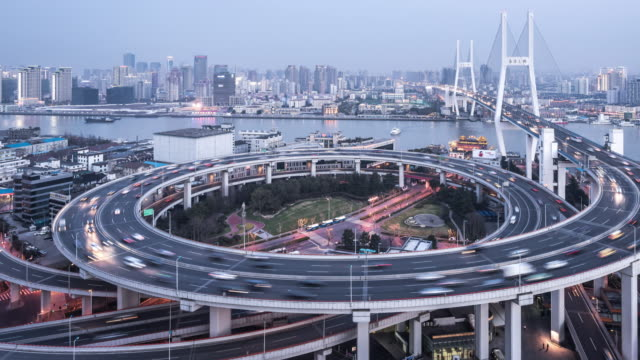 T/L WS HA PAN Nanpu Bridge Dusk to Night Transition / Shanghai, China