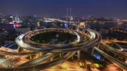 Nanpu bridge, Shanghai- time lapse