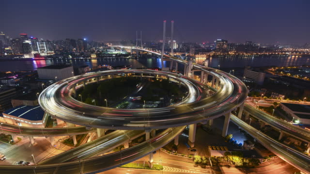 nanpu bridge, shanghai- time lapse - shanghai stock videos & royalty-free footage
