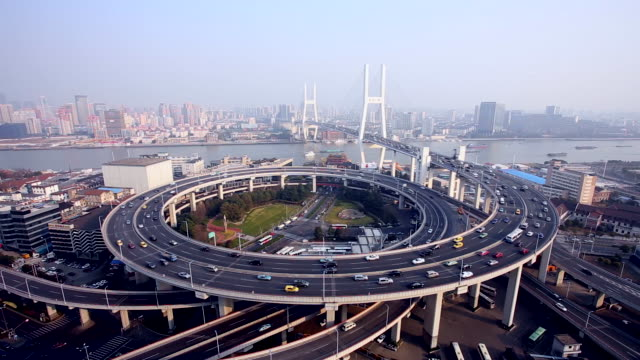 Nanpu Bridge Traffic in Shanghai