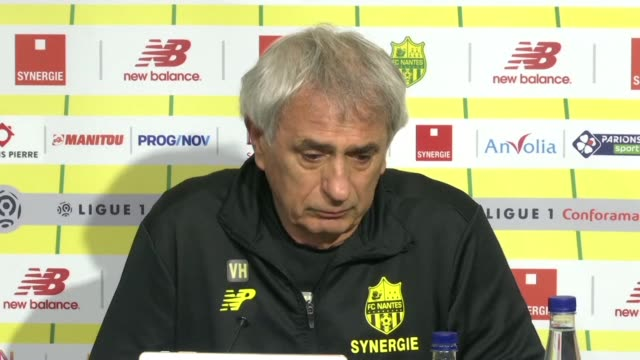 nantes coach vahid halilhodzic breaks down is tears as he expresses that emiliano's sala's death awful and unfair during a press conference in nantes... - nantes stock videos & royalty-free footage
