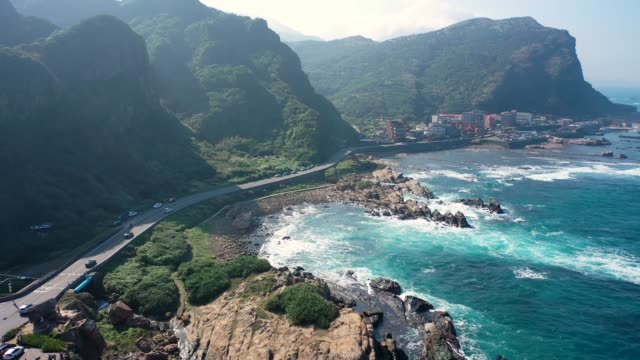 nanya rock, coast sea at jioufen, taiwan. - 九份点の映像素材/bロール