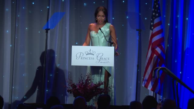 speech naomi campbell at the 2016 princess grace awards gala at cipriani 25 broadway on october 24 2016 in new york city - cipriani manhattan stock videos & royalty-free footage