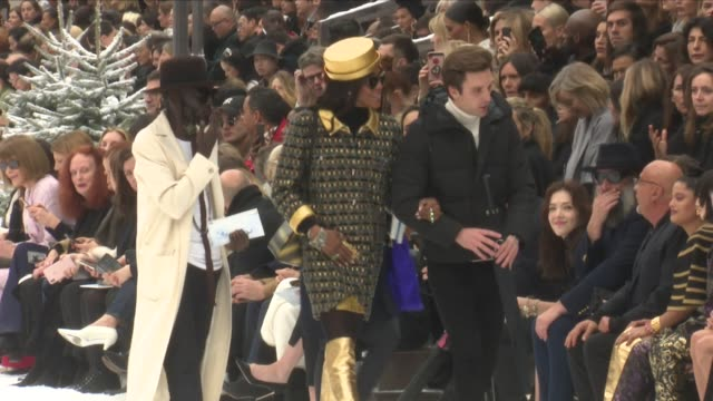 naomi campbell, janelle monae, claudia schiffer, monica bellucci, kristen stewart, anna dello russo and more front row for the chanel ready to wear... - fashion show stock videos & royalty-free footage