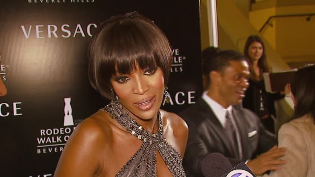 naomi campbell on gianni versace, wearing the clothes, the award, and anna nicole smith's death at the rodeo walk of style award presentation to... - anna nicole smith stock videos & royalty-free footage