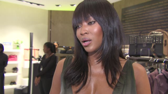 interview naomi campbell on supporting fashion for relief at naomi campbell fashion for relief pop up launch party at westfield london on november 27... - naomi campbell stock videos & royalty-free footage