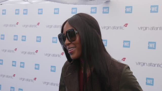 naomi campbell takes questions on the we day uk blue carpet at the sse arena in wembley london we day uk is a local initiative to encourage young... - naomi campbell stock videos & royalty-free footage