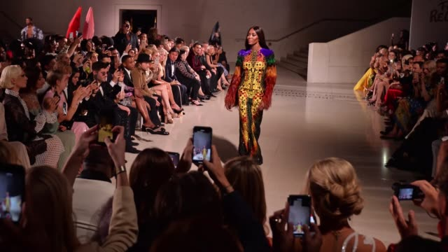 naomi campbell walks the runway during fashion for relief london 2019 at the british museum on september 14 2019 in london england - naomi campbell stock videos & royalty-free footage
