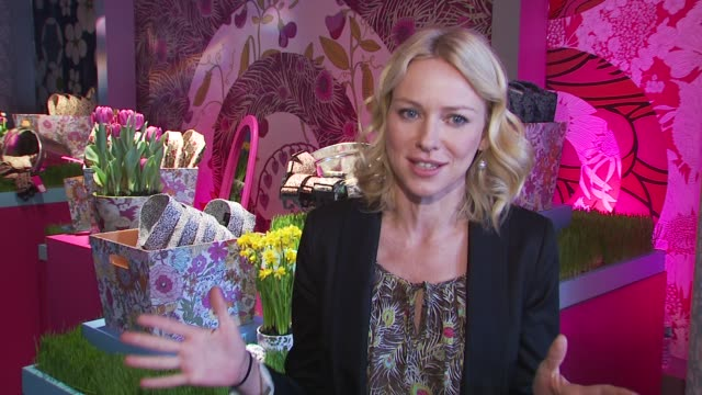 Naomi Watts on having her eye on some boxes to organize on what she is wearing on the products being offered at the Liberty Of London For Target...