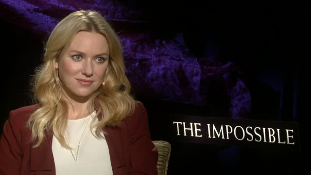 naomi watts on the physical demands of the role and on taking liberties as an actor in the film at 'the impossible' los angeles press junket... - media interview stock videos and b-roll footage