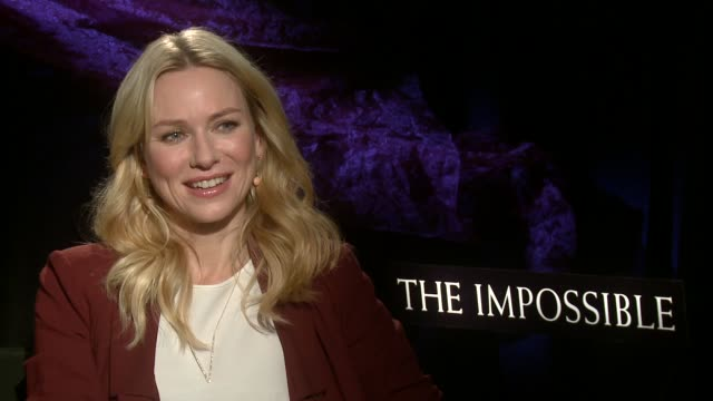 naomi watts on working with tom holland and on whether or not she would like to take on another physical role at 'the impossible' los angeles press... - media interview stock videos and b-roll footage