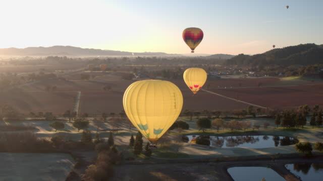 napa hot air balloons - vineyard stock videos and b-roll footage