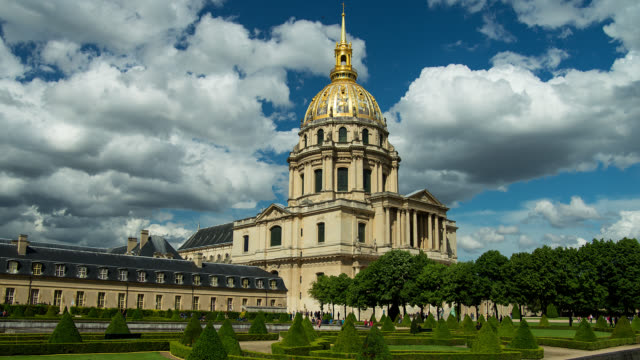 t/l napoleon's tomb at the invalides in paris, france with clouds - dome stock videos & royalty-free footage