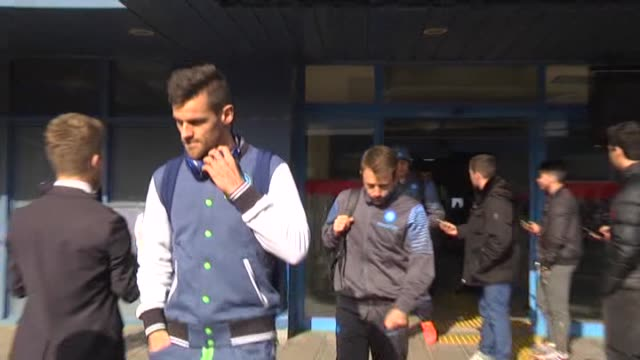 Napoli football team arrives at Trabzon Airport ahead of the first leg of UEFA Europa League Round 32 soccer match between Trabzonspor and Napoli on...
