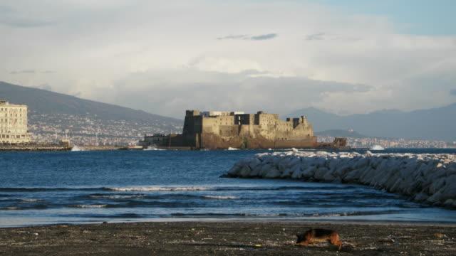 napoli seaside with castel dell'ovo - baia video stock e b–roll