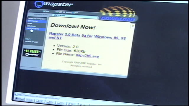 napster website on a computer screen - 2000s style点の映像素材/bロール