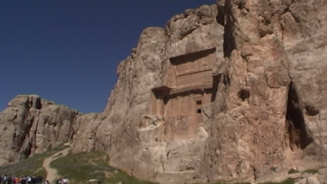 naqshe rustam lowangle view of the tomb of achaemenid king darius ii at the necropolis of naqshe rustam in fars province - rock face stock videos & royalty-free footage