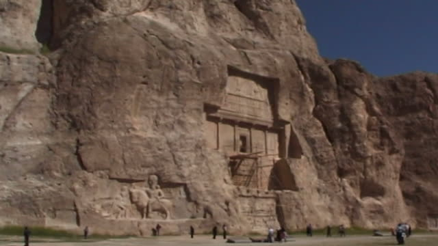 naqshe rustam wide panleft showing the rockcut tombs of achaemenid kings - rock face stock videos & royalty-free footage