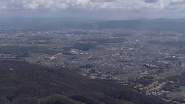 aerial, nara basin, nara prefecture, japan - nara prefecture stock videos and b-roll footage