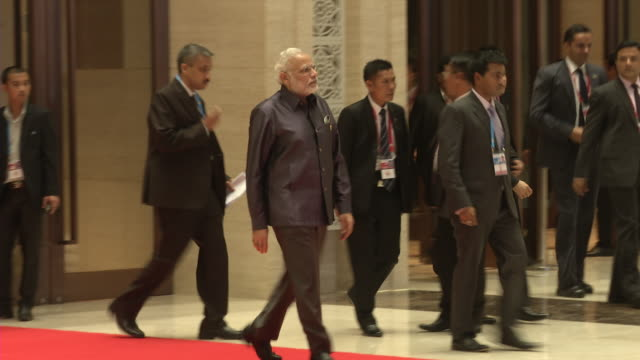 narendra modi arrives for a welcome dinner during the association of southeast asian nations summit the laotian capital vientiane - association of southeast asian nations stock videos & royalty-free footage