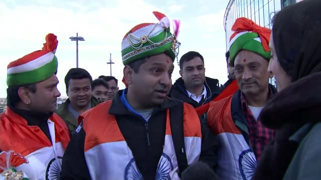 wembley stadium rally vox pops sot indian flag flying - political rally stock videos & royalty-free footage