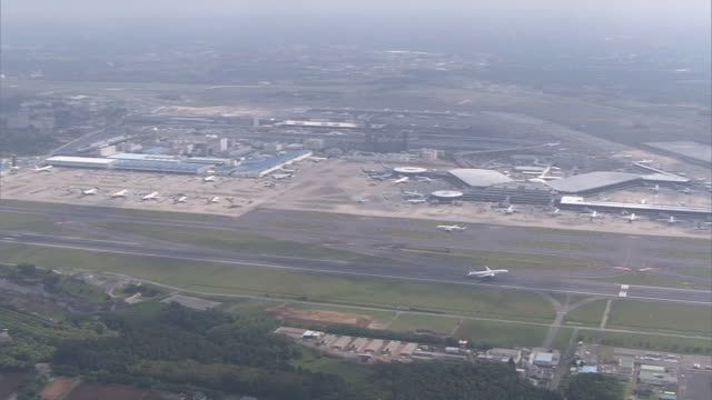 aerial, narita international airport, chiba, japan - helicopter landing pads stock videos and b-roll footage
