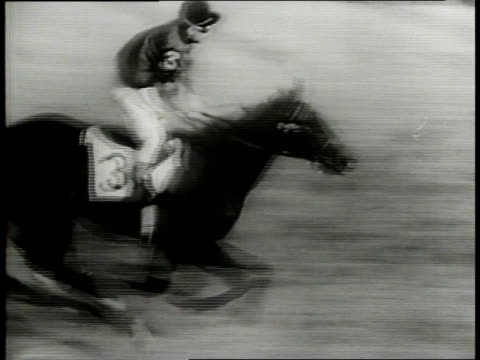 vídeos de stock, filmes e b-roll de narrated / 1949 newsreel /the bells ring at churchill downs, and the horses are released onto the track / olympia is in the lead / the horses come... - narrating