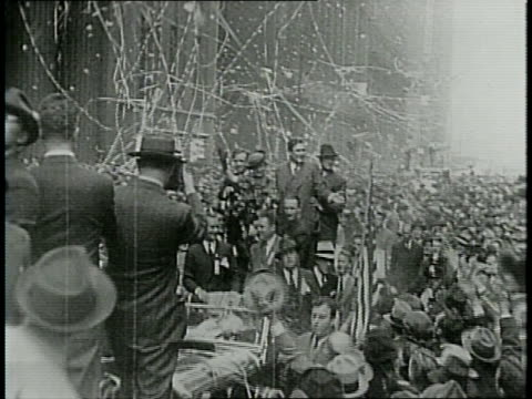 narrated / illinois 1940 / crowd cheers / willkie addresses 7000 supporters in cicero / in chicago willkie in ticker tape parade down michigan avenue... - narrating stock videos & royalty-free footage
