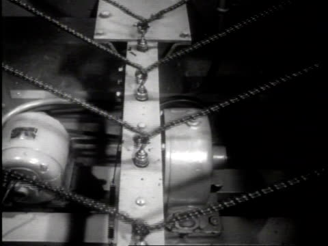 narrated / machine at underwriters laboratory twists and untwists cords to test for safety/ all types of switches are pushed and pulled by machines... - narrating stock-videos und b-roll-filmmaterial