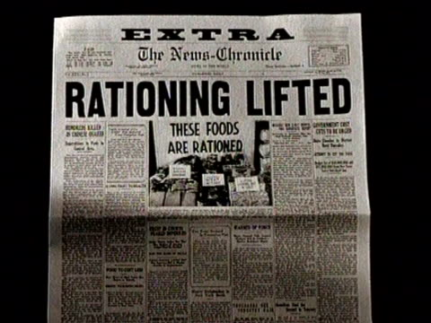 narrated / newspaper headline about food rationing / - narrating stock videos & royalty-free footage