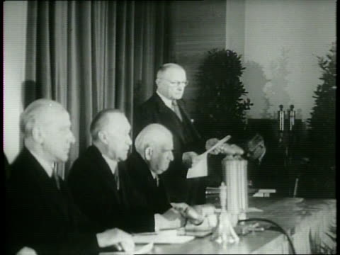 narrated / parliament delegates of germany meet at a schoolhouse in bonn to establish a new constitution for western germany / konrad adenauer... - 1949 stock videos and b-roll footage