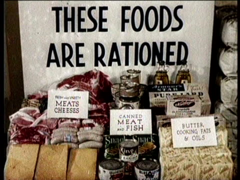 narrated / series of shots of a variety of foods on display to educate shoppers as to what is rationed / the office of price administration building... - narrating stock videos & royalty-free footage