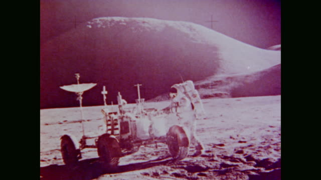 narrates the topography of the lunar surface - 1972 stock videos & royalty-free footage