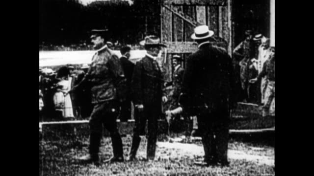 Narrator explains how Lieutenant Thomas Etholen Selfridge was killed only eight days after Lahm and Wright's successful flight / still photograph of...