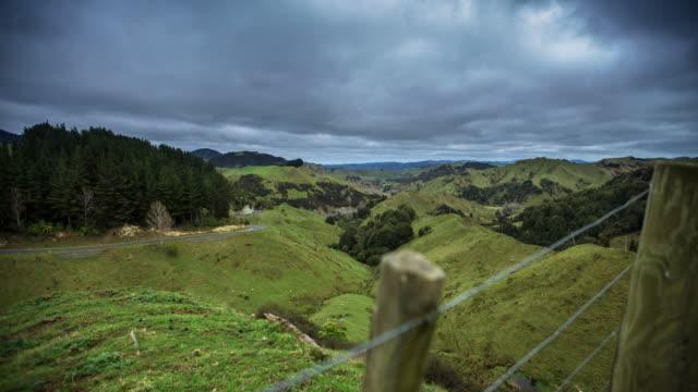 narrow remote valley in manawatu-wanganui region, new zealand - time lapse - manawatu wanganui region stock videos & royalty-free footage