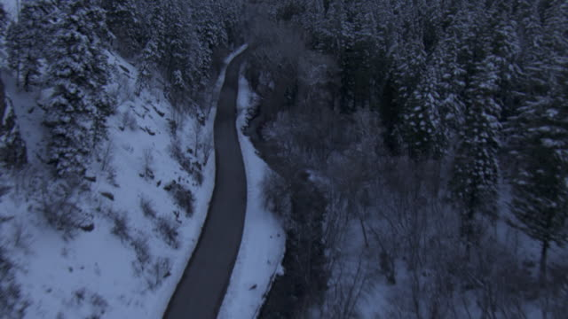 a narrow road winds past a river and through the snowy, wooded wasatch mountains in utah. - empty road stock videos and b-roll footage