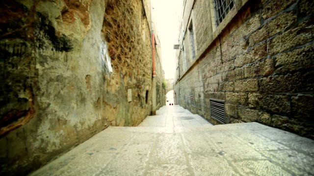 narrow street in old city - jerusalem stock videos & royalty-free footage