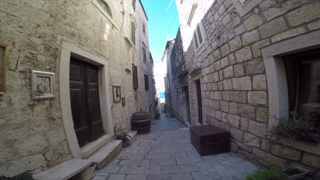 Narrow streets in Korcula Old Town, Korcula, Dalmatia, Croatia, Europe