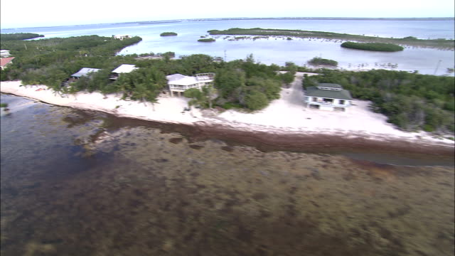 a narrow strip of land provides space for a few houses in the everglades. - everglades national park stock videos & royalty-free footage