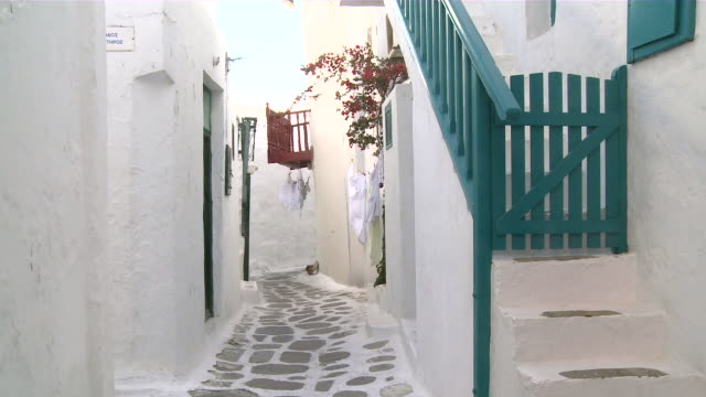 ms narrow walkway of twon / myconos, cylades islands, greece - mykonos stock videos and b-roll footage