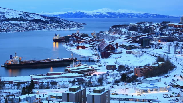 narvik iron ore mining factory with shipping boat - shipyard stock videos & royalty-free footage