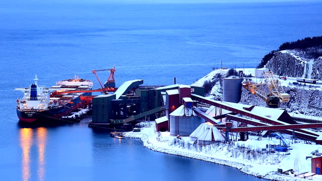 Narvik Iron ore Mining Factory with shipping boat