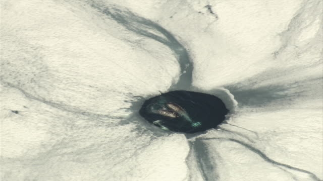 narwhals surface in a circular breathing hole. - クジラ点の映像素材/bロール